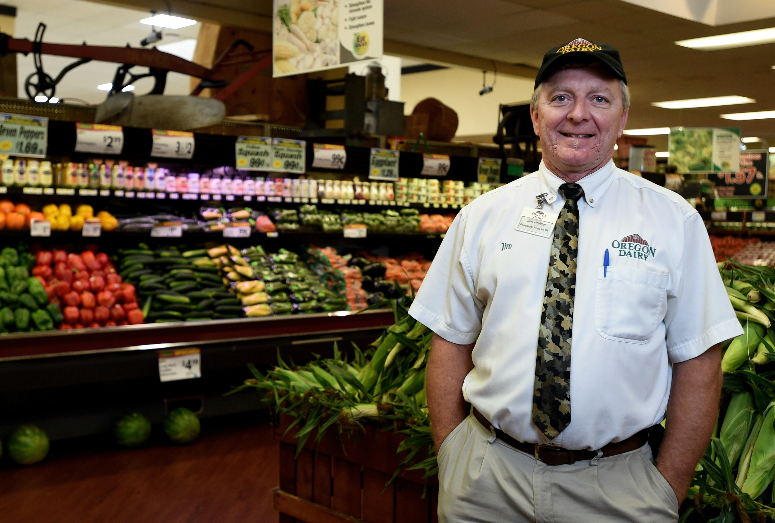 Jim Hensel, Perishable Food Manager at Oregon Dairy in Lititz, PA,poses for a portrait in the dairy's market on July 22, 2016. (Reading Eagle: Sarah Stier)