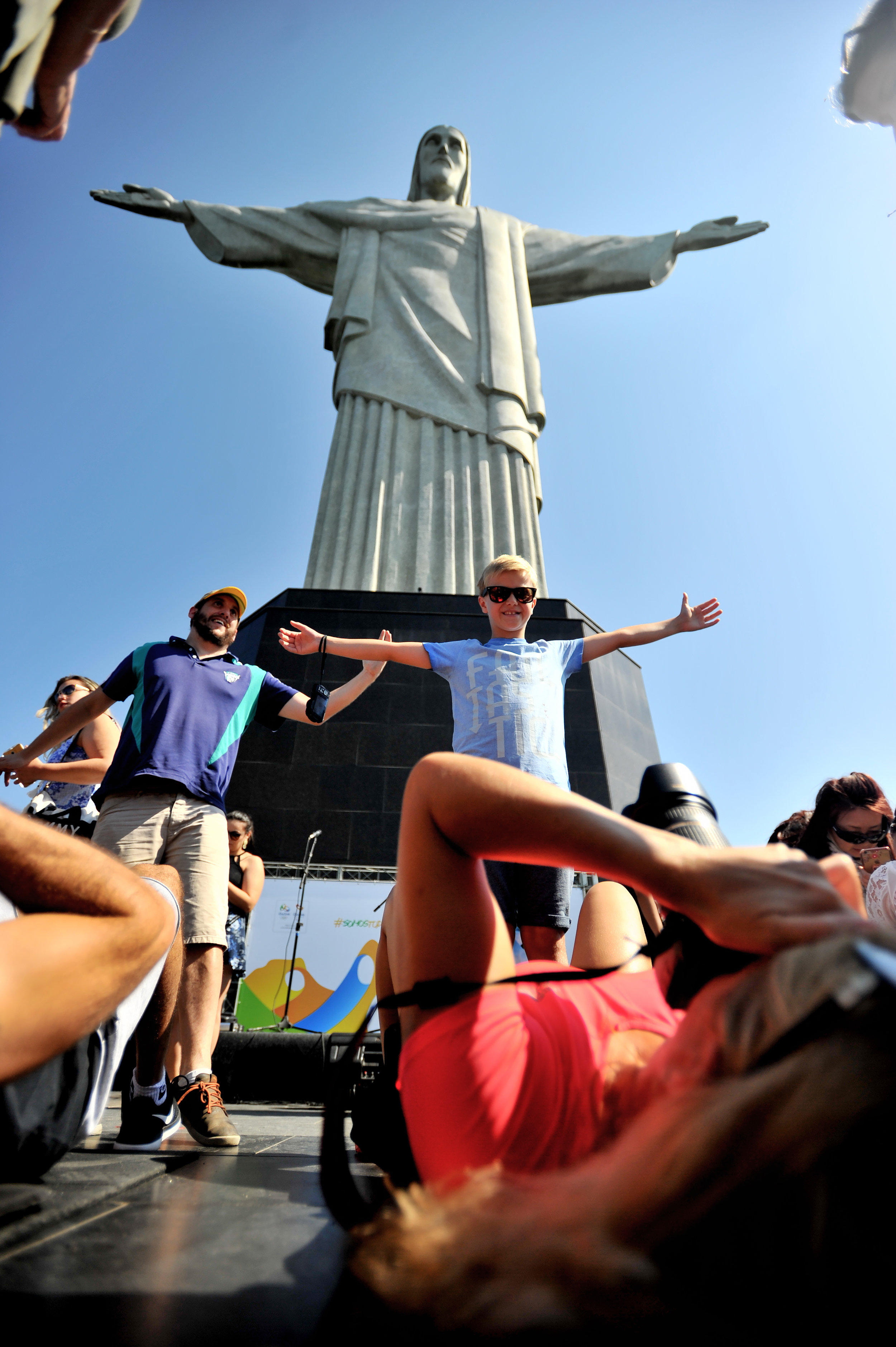 Tourists take photographs at the Statue of Christ the Redeemer in Rio de Janeiro, Brazil, on August 5, 2016. (Sarah Stier | Ball State at the Games)