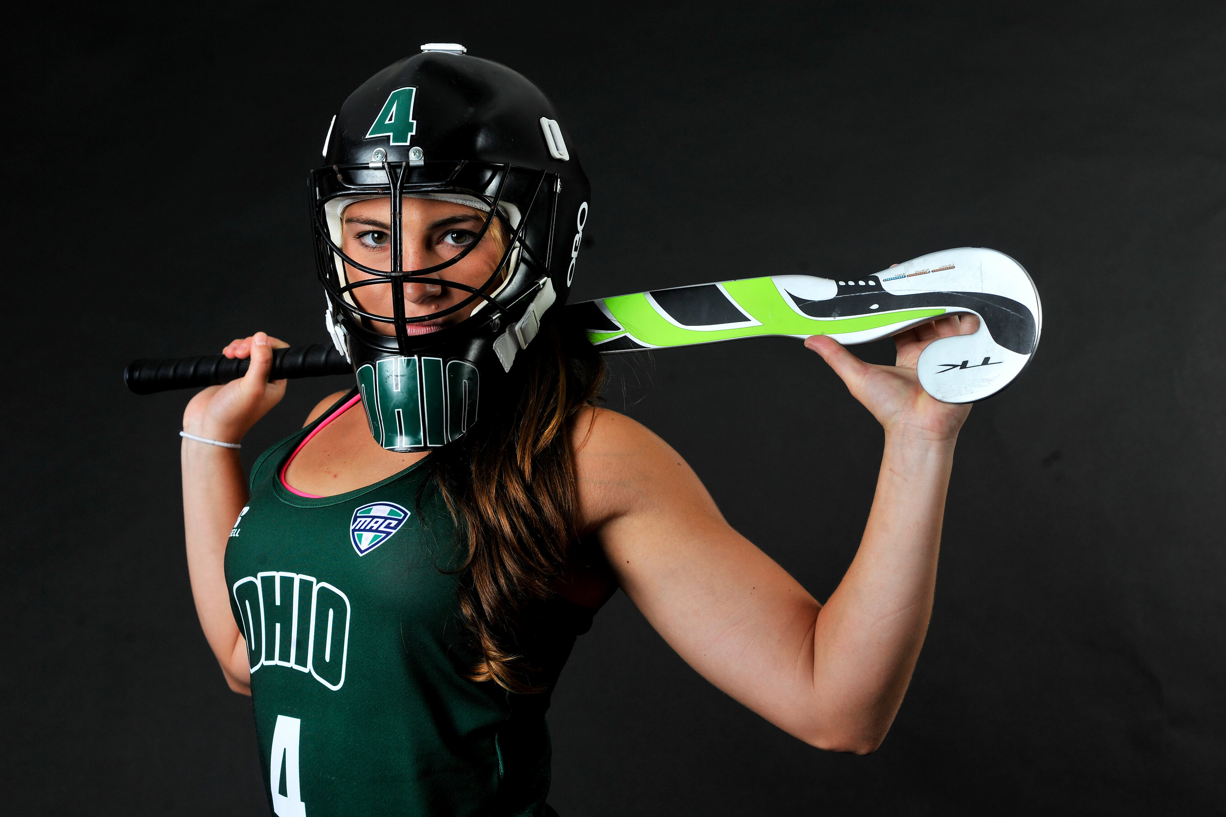 Senior goalkeeper Lina Trucco of Lake Bluff, Ill., poses for a portrait during Ohio Women's Field Hockey photo day on August 22, 2016. (Sarah Stier | Ohio Athletics)