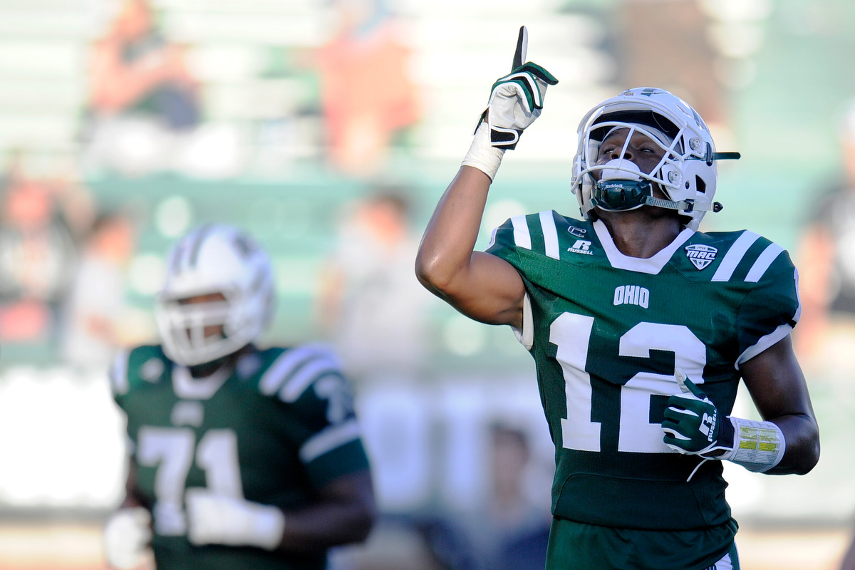 Ohio's senior wide receiver Jordan Reid looks to the sky after scoring a touchdown during the game against Texas State on September 3, 2016, in Athens, Ohio. After a back and forth game that went into triple overtime, the Bobcats dropped the game to Texas State 56-54.
