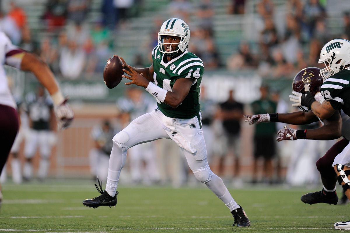 Ohio's senior quarterback Greg Windham looks to pass during the game against Texas State on September 3, 2016, in Athens, Ohio. After a back and forth game that went into triple overtime, the Bobcats dropped the game to Texas State 56-54.