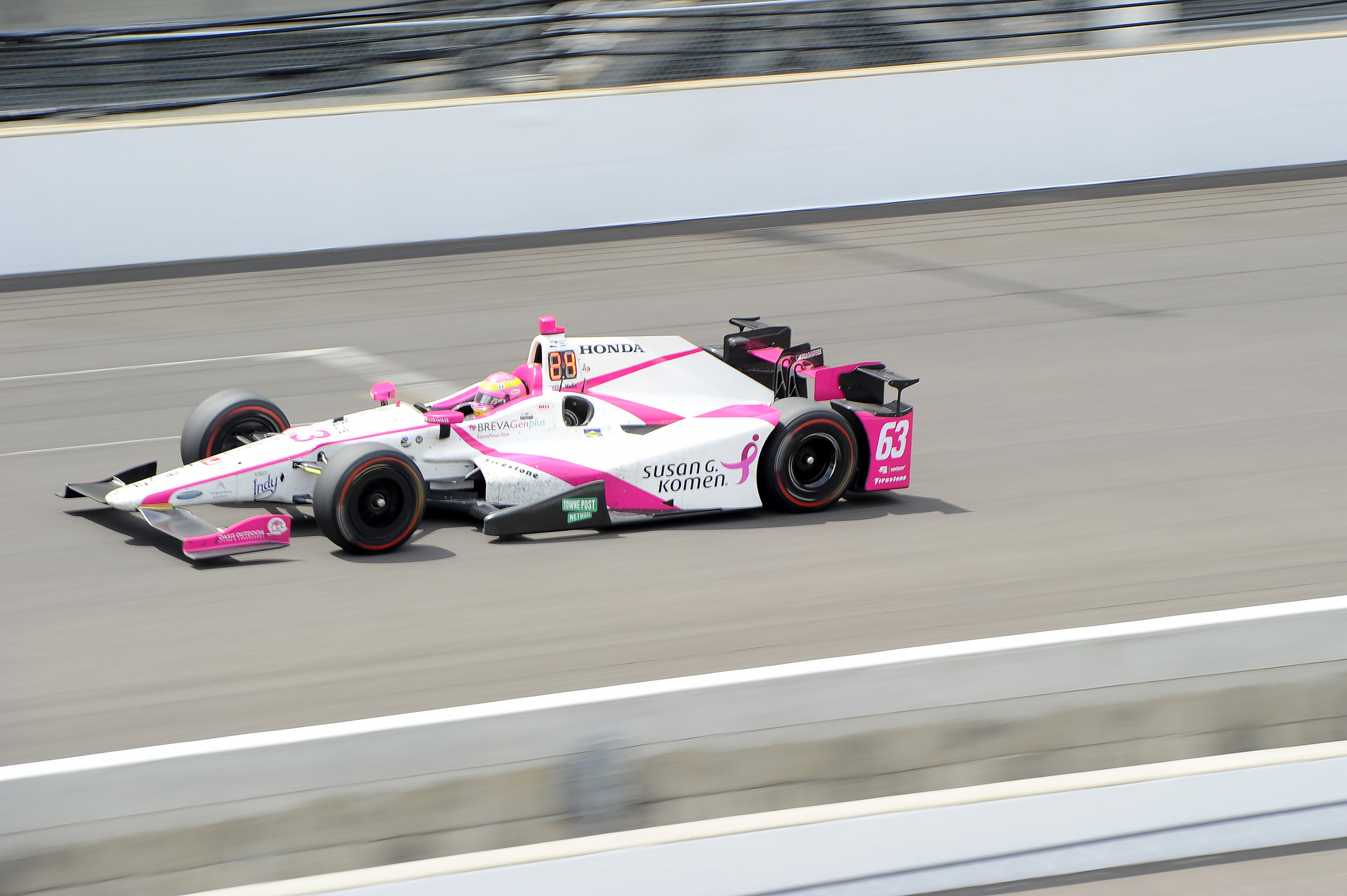 Pippa Mann flys down a straightaway at Indianapolis Motor Speedway during the 101st running of the Indy 500 on Sunday, May 28, 2017. Mann, the only female competitor, finished 17th.