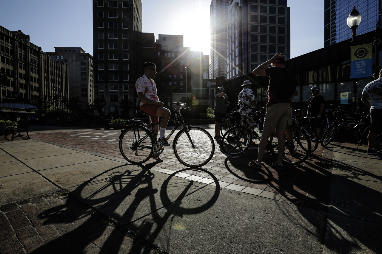 People wait to begin the 8-mile ride at Bike Party Indianapolis in downtown Indianapolis on Friday, June 9, 2017. The group meets every second Friday of every month.