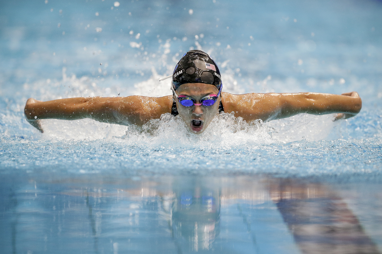Carmel Swim Club's Kelly Pash during the butterfly leg of the 200-meter Individual Medley at the Phillips 66 National Championships at IUPUI Natatorium in Indianapolis on Saturday, July 1, 2017. Pash finished last in the C-final with a time of 2:18.41.