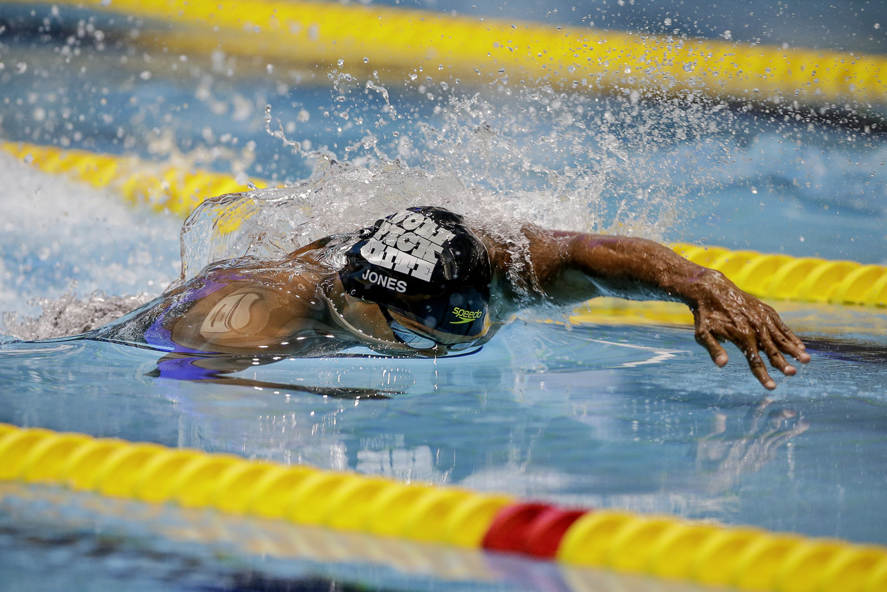 Cullen Jones during his 50-meter freestyle race at the Phillips 66 National Championships at IUPUI Natatorium in Indianapolis on Saturday, July 1, 2017. Two-time Olympian Jones finished third in the event behind second-place Nathan Adrian and winner Caeleb Dressel.