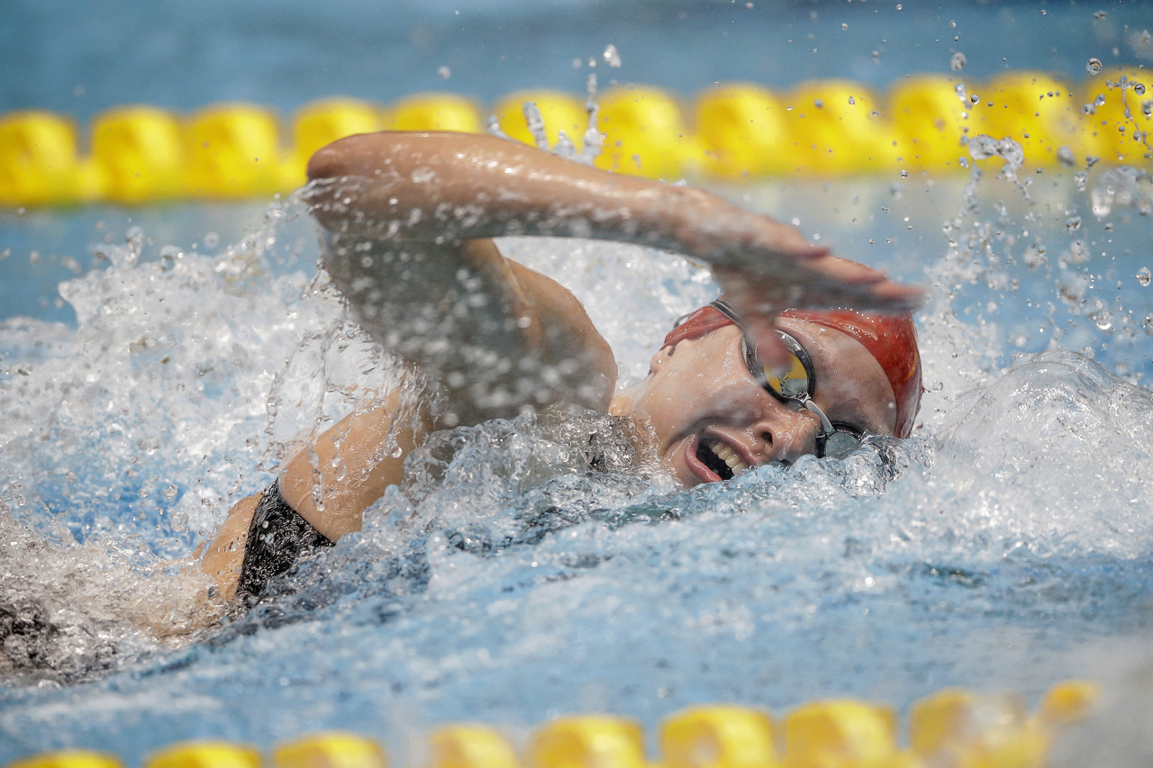 MAKO Swim Team's Anya Goeders during her 50-meter freestyle race at the Phillips 66 National Championships at IUPUI Natatorium in Indianapolis on Saturday, July 1, 2017. Goeders won the C-final by one-tenth of a second.