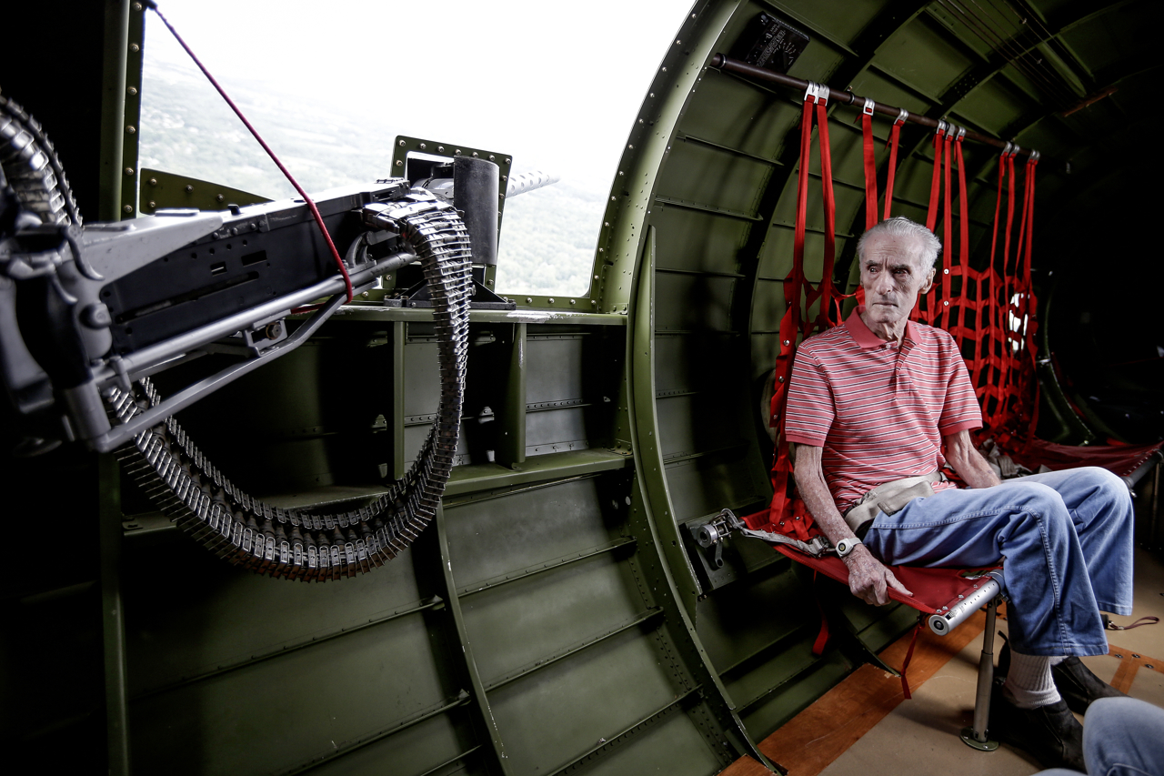 Dick Sutton, a naval Korean War veteran, is given a flight on a historic B-17 bombers on Monday, June 26, 2017. The Liberty Foundations 2017 Salute to Veterans tour features flights on the World War II-era Boeing B-17 Flying Fortress nicknamed 'Madras Maiden'. Sutton served in the military for 34 years.