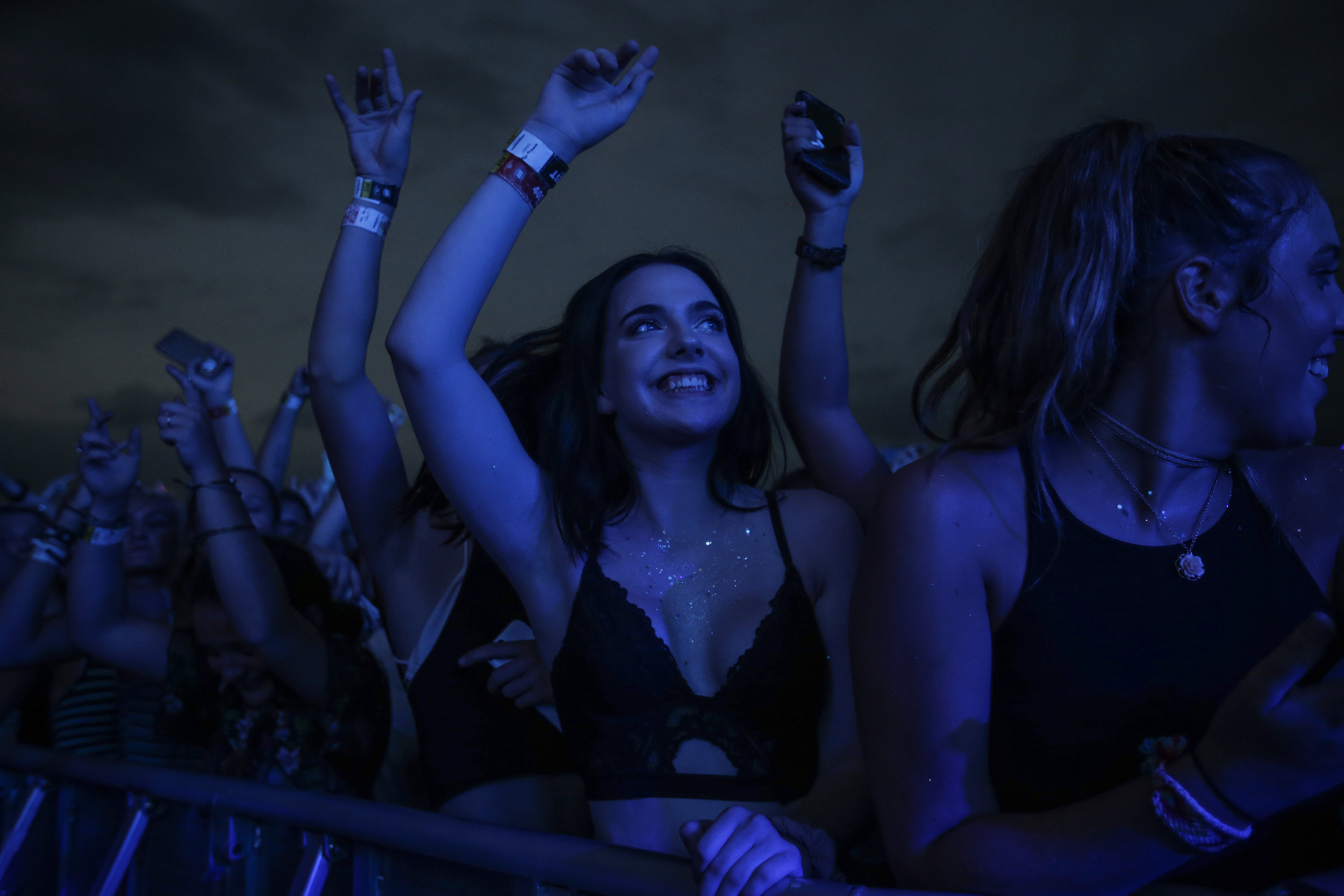 Olivia Smith cheers for The Chainsmokers' performance at the 400Fest concert at Indianapolis Motor Speedway on Saturday, July 22, 2017.