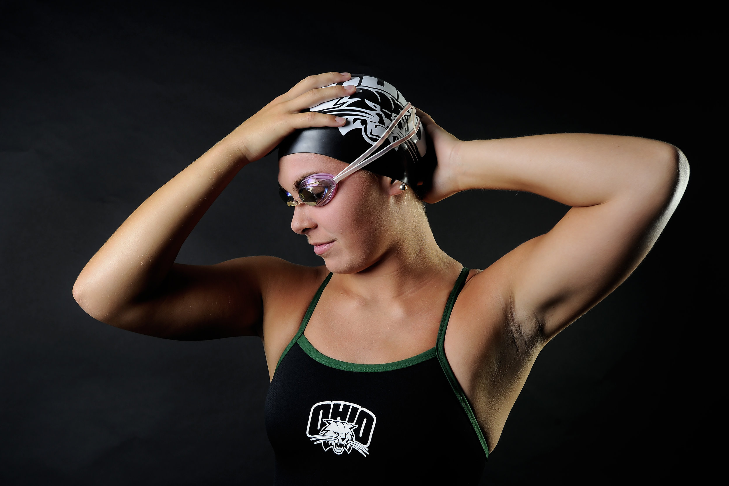 Ohio Bobcats freshman swimmer Samantha Glass poses for a portrait on September 9, 2017, in Athens, Ohio. Glass, hailing from Villa Hills, Ky., specializes in the 200 and 400 Individual Medley.
