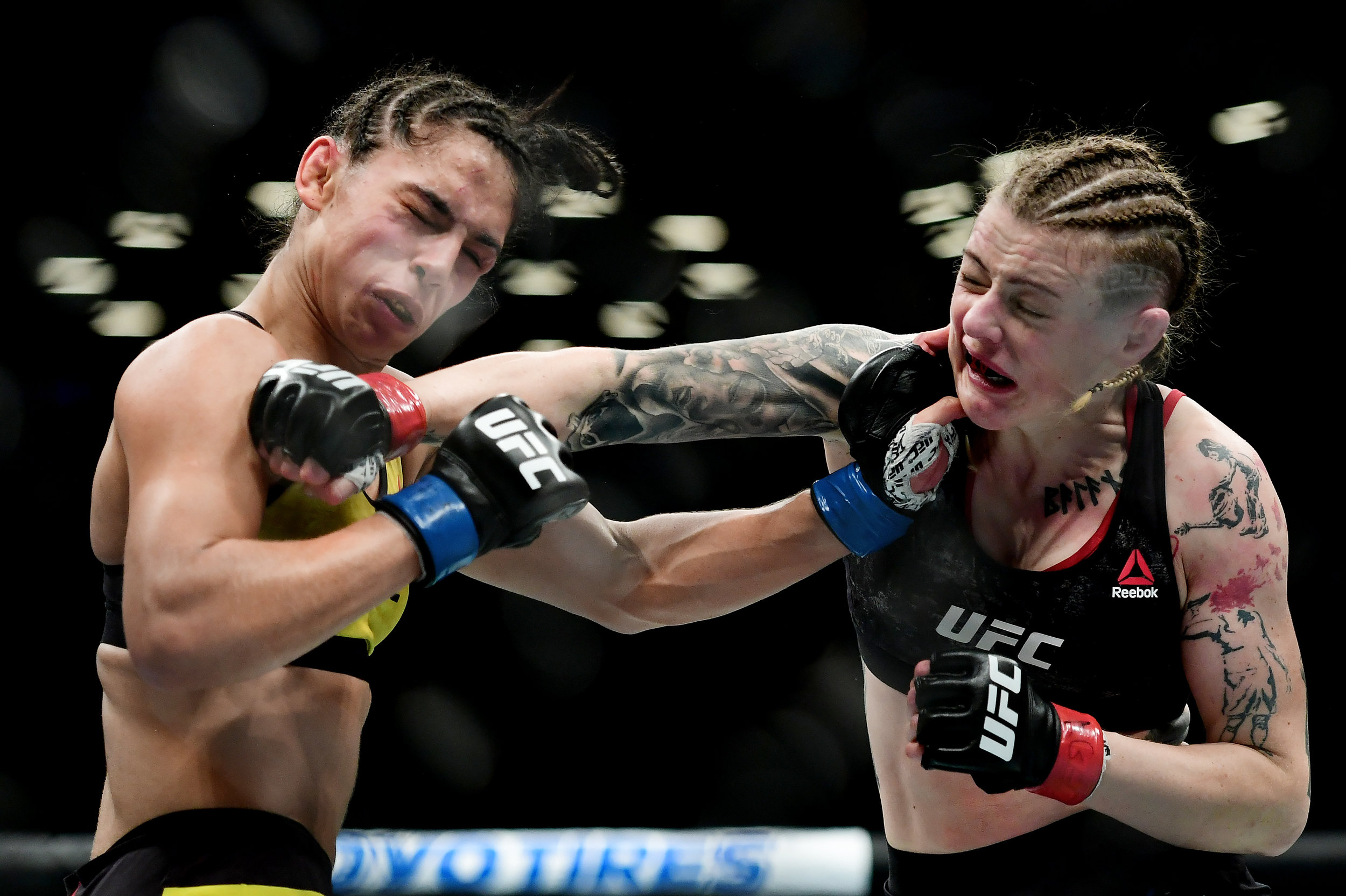 Joanne Calderwood of Scotland (R) fights against Ariane Lipski of Brazil during their Women's Flyweight fight at UFC Fight Night at Barclays Center on January 19, 2019 in New York City.