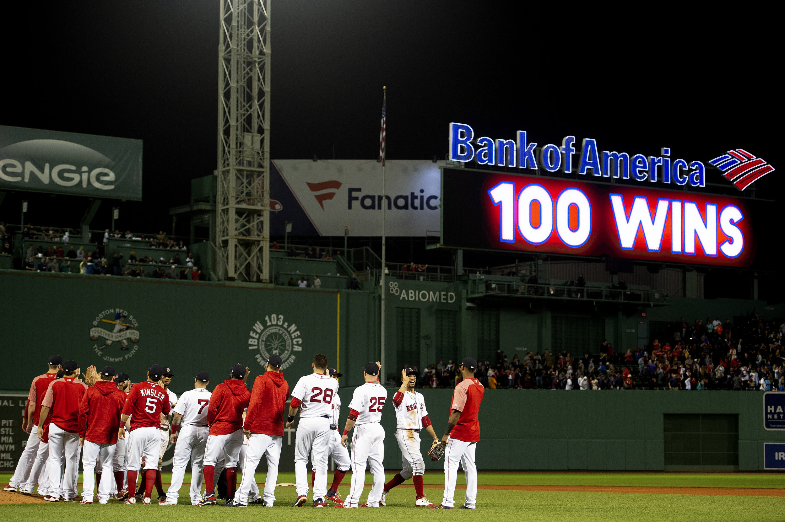 The Boston Red Sox are the first team to earn 100 wins, defeating the Toronto Blue Jays 1-0 at Fenway Park in Boston, Massachusetts Wednesday, September 12, 2018. This was their first 100-win season since 1946.