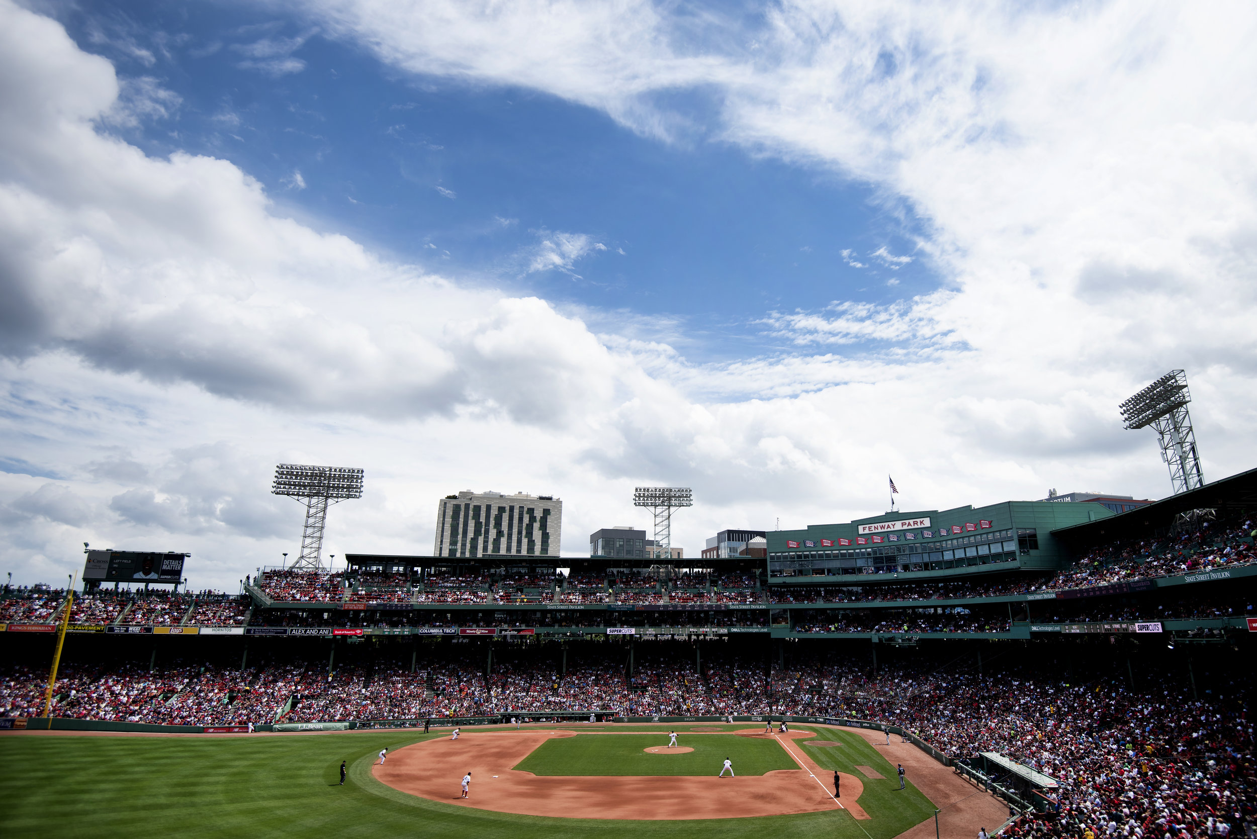 Fenway Park as viewed from the top of the Green Monster during the game against Seattle in Boston, Massachusetts on Sunday, June 24, 2018.