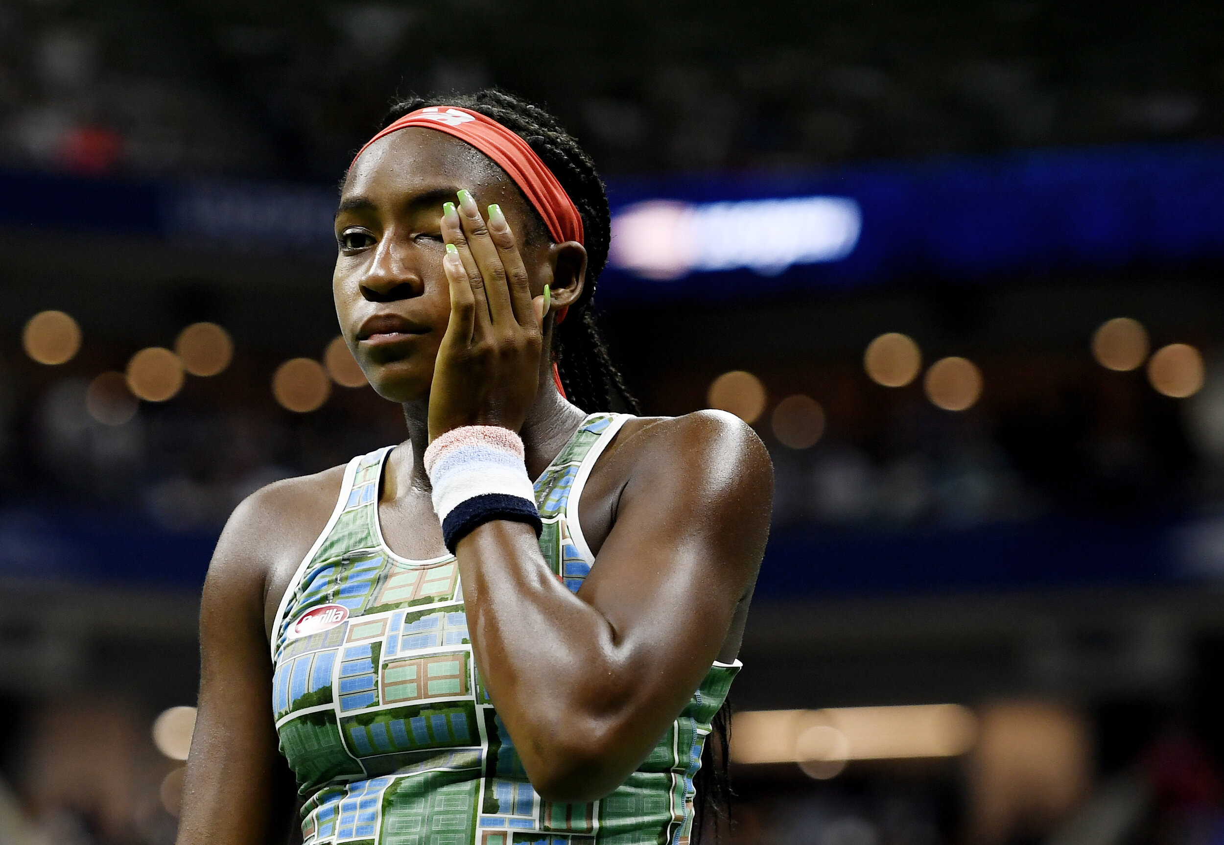 Coco Gauff, of the United States, reacts during a match against Naomi Osaka, of Japan, during the third round of the U.S. Open tennis tournament Saturday, Aug. 31, 2019, in New York.
