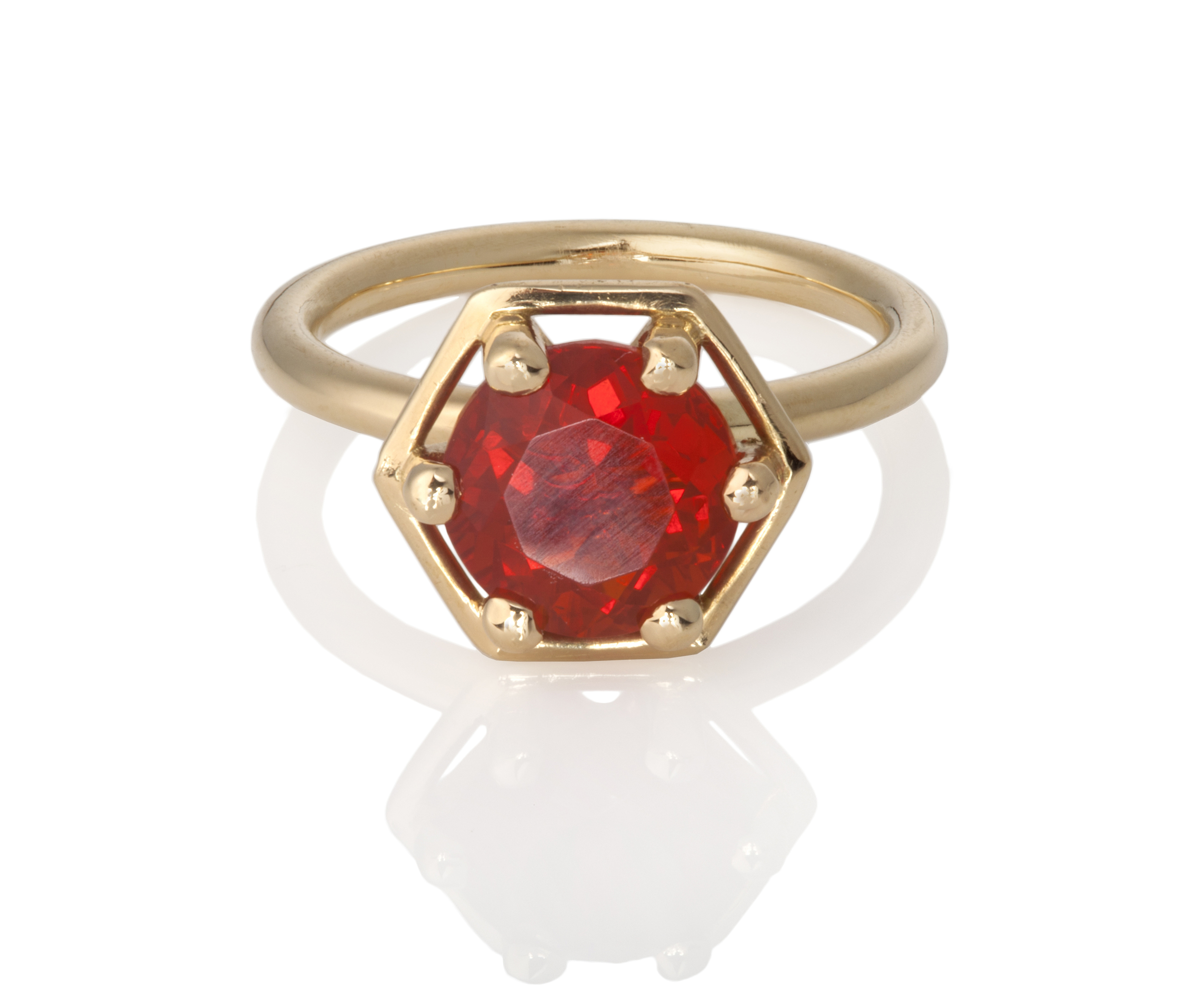 Fire Opal Hex ring.