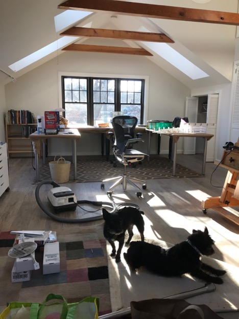 """Getting moved into the new studio space in Mass. with my """"helpers"""""""