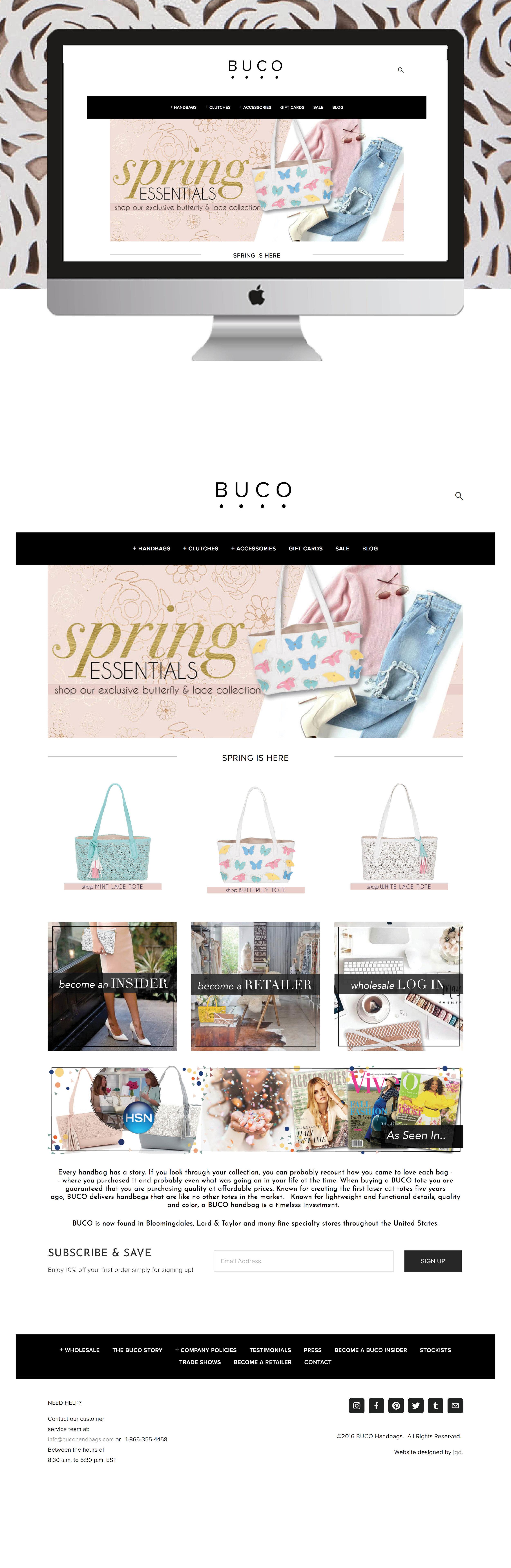 E-Commerce Squarespace Website Design for BUCO Handbags by jgdigital.co