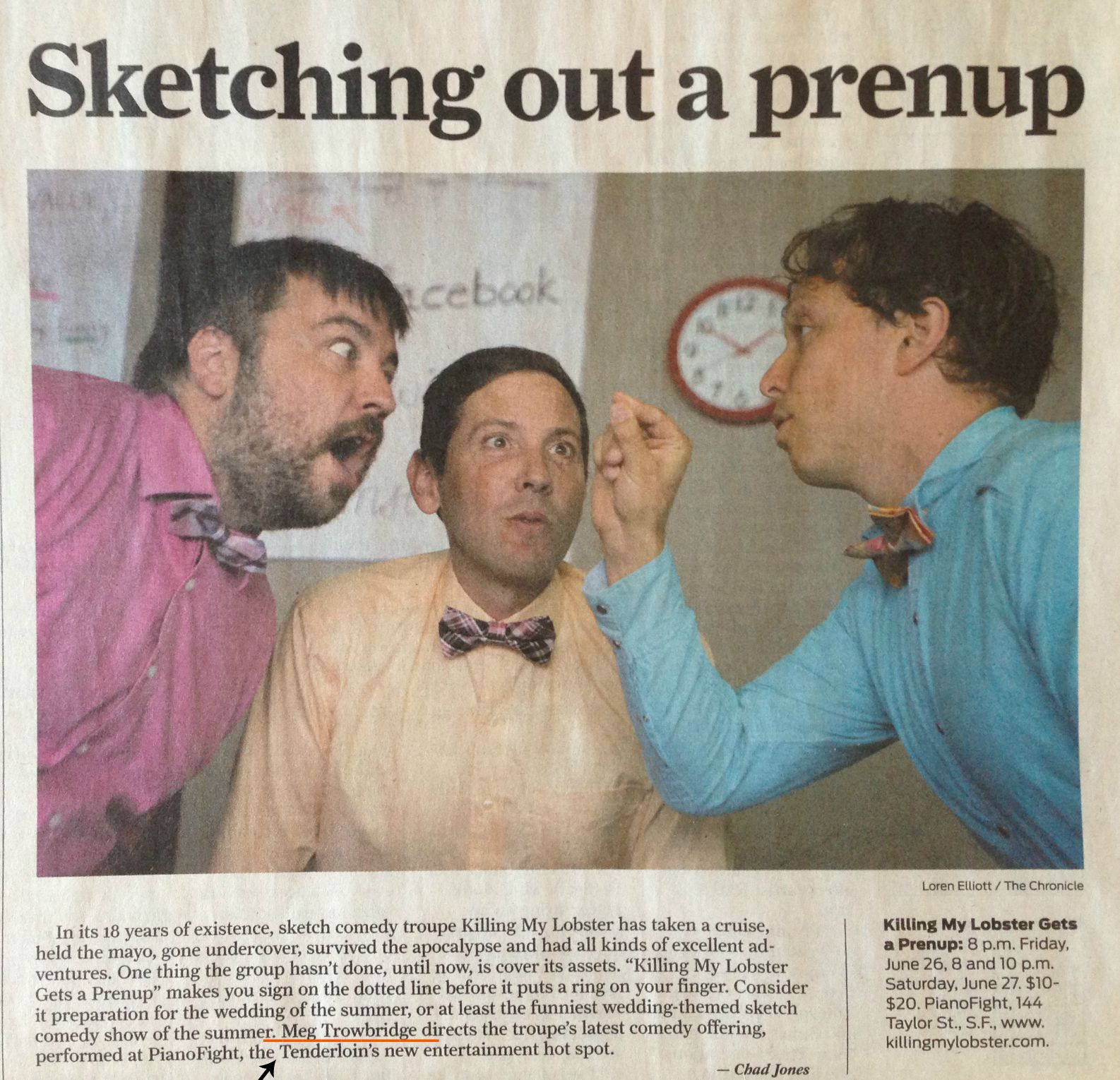 "A write up of the Killing My Lobster show I directed in June of 2015, ""KML Gets a Prenup."""