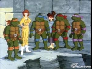 Teenage Mutant Ninja Turtles and April in her fabulous yellow jumpsuit.