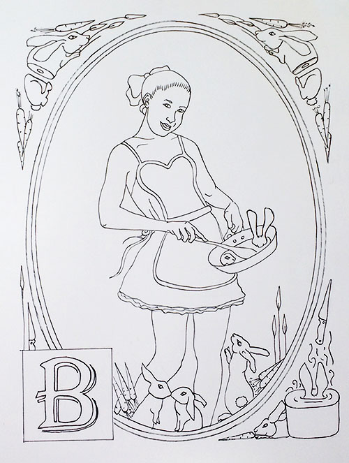 'B' is for bunnies, boiled and charred.