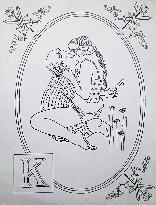 'K' is for kissing with blood on the lip.