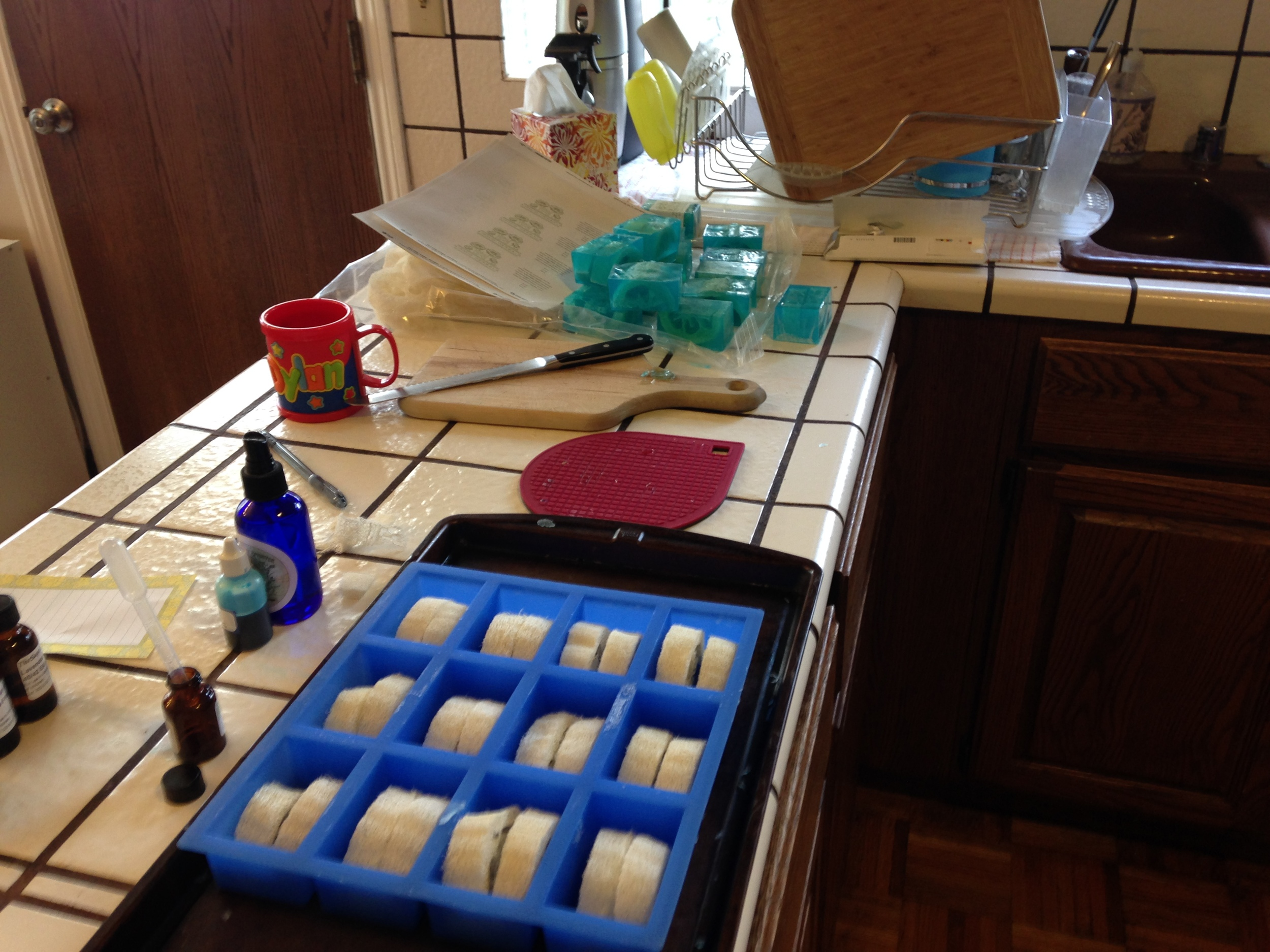 Loofahs in the mold, scented oils and colorant.