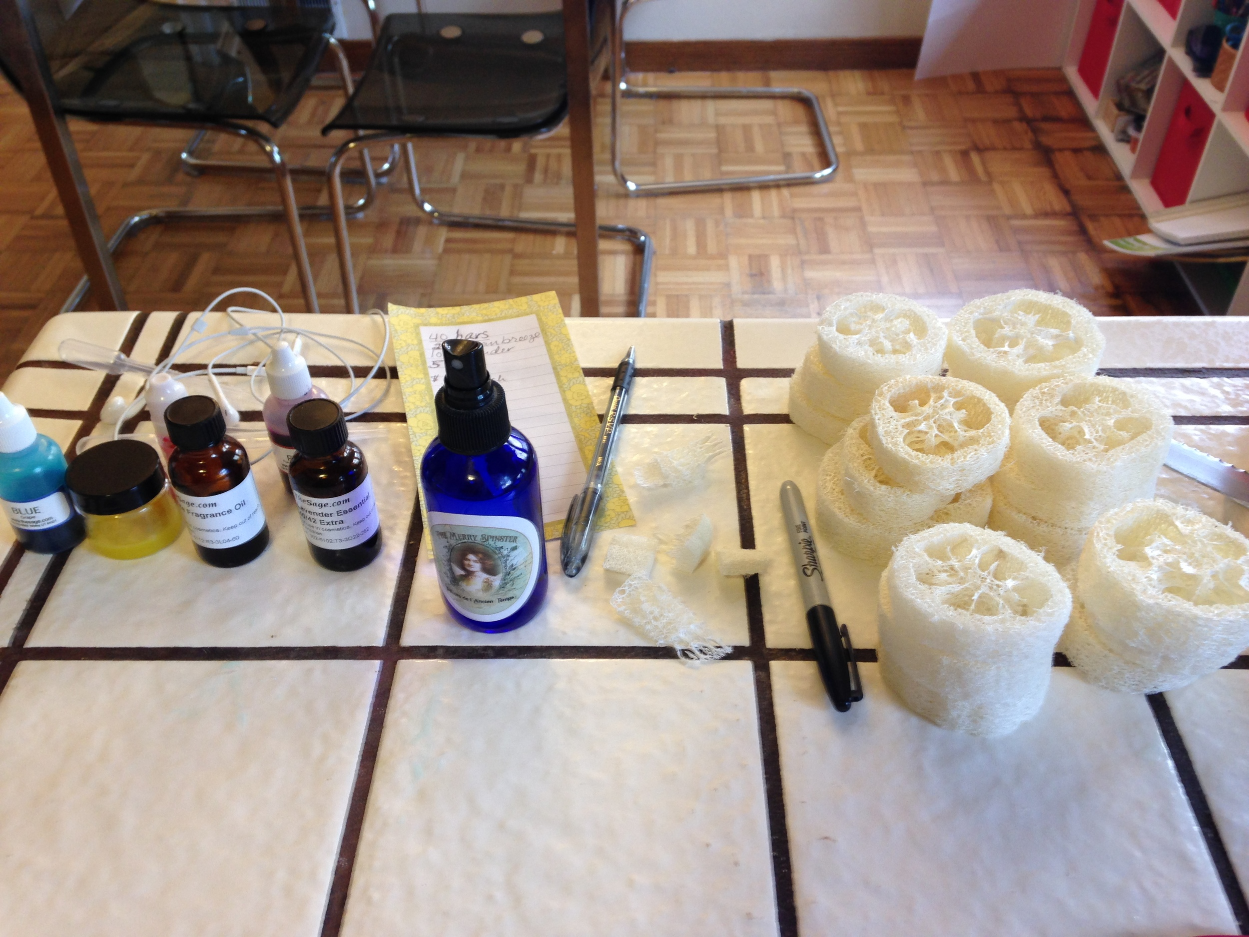 Tools of the trade. Loofah essential and fragrance oils, colorants, and the ever important alcohol spritzer.