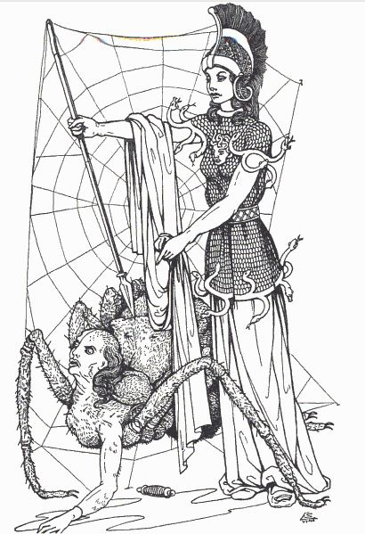 Athena and Arachne illustration by Edouard Sandoz from Olivia E. Coolidge's Greek Myths 1949