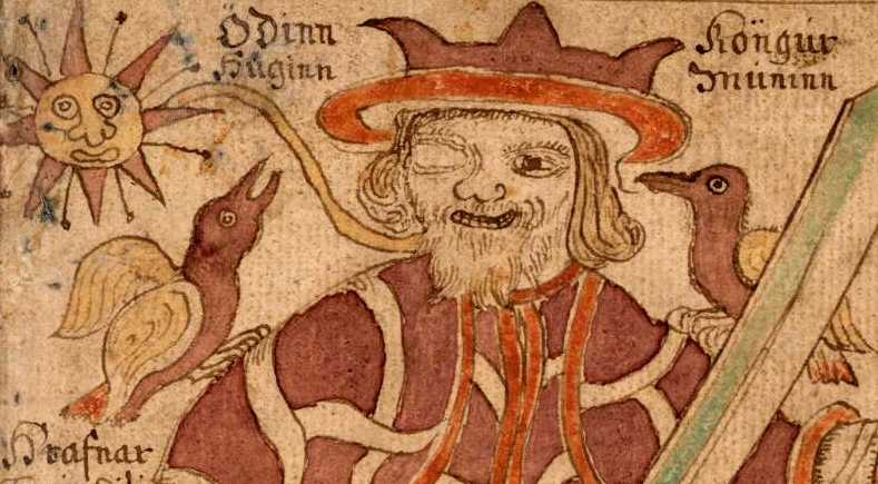Huginn and Muninn sit on Odin's shoulders in an illustration from an 18th-century Icelandic manuscript