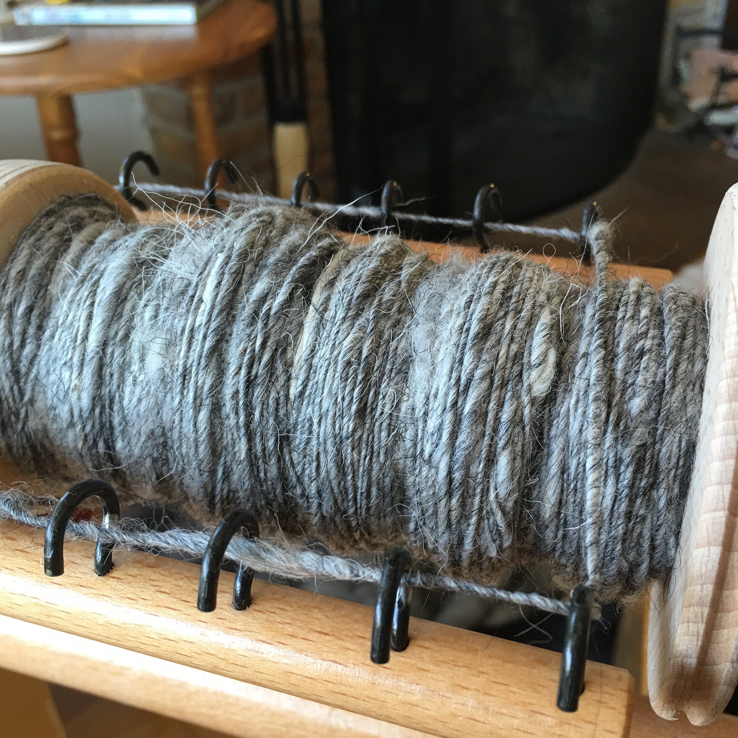 In process on the bobbin.