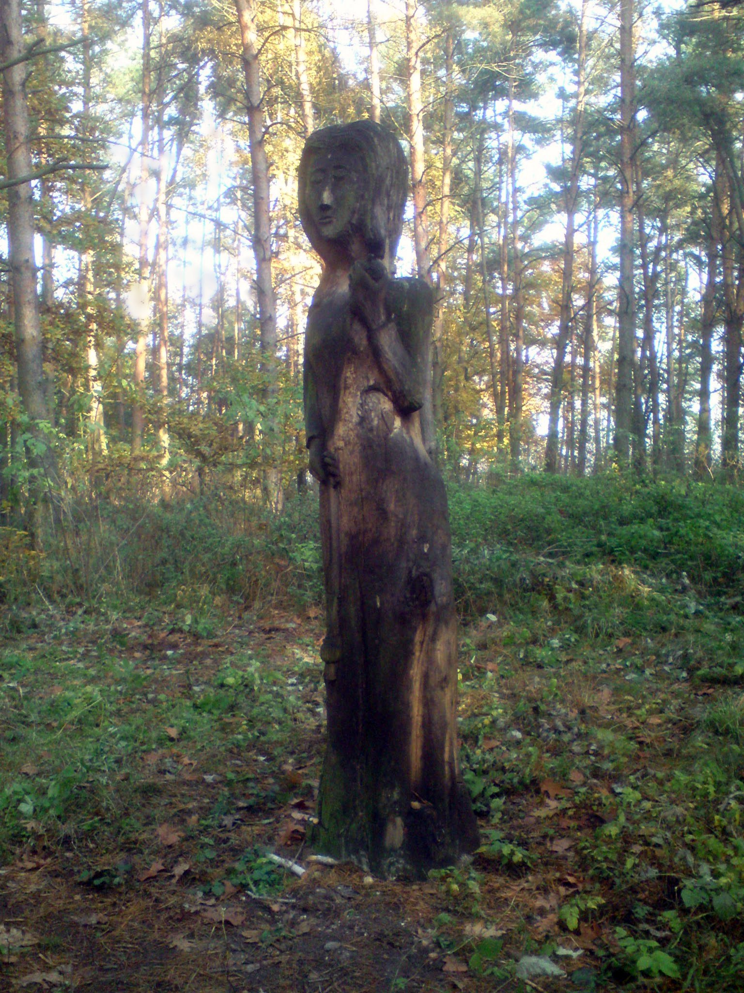 Modern wooden statue of Mokosh in the Czech Republic.