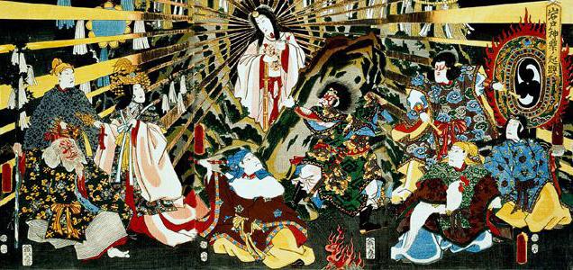 "Artist: Utagawa Toyokuni III, Kunisada  Japanese Sun goddess  Amaterasu emerging from a Cave ,""ORIGIN OF IWATO KAGURA DANCE"""