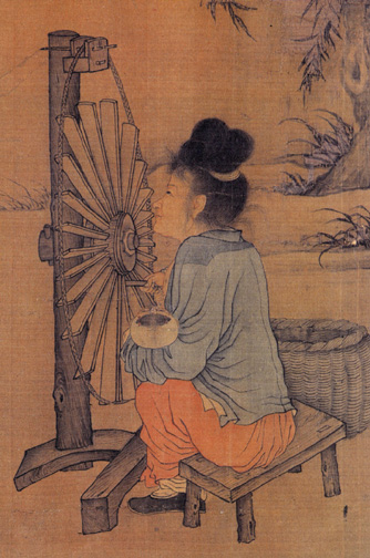Detail of  The Spinning Wheel , by  Chinese artist  Wang Juzheng, Northern Song Dynasty  (960–1279) [1]