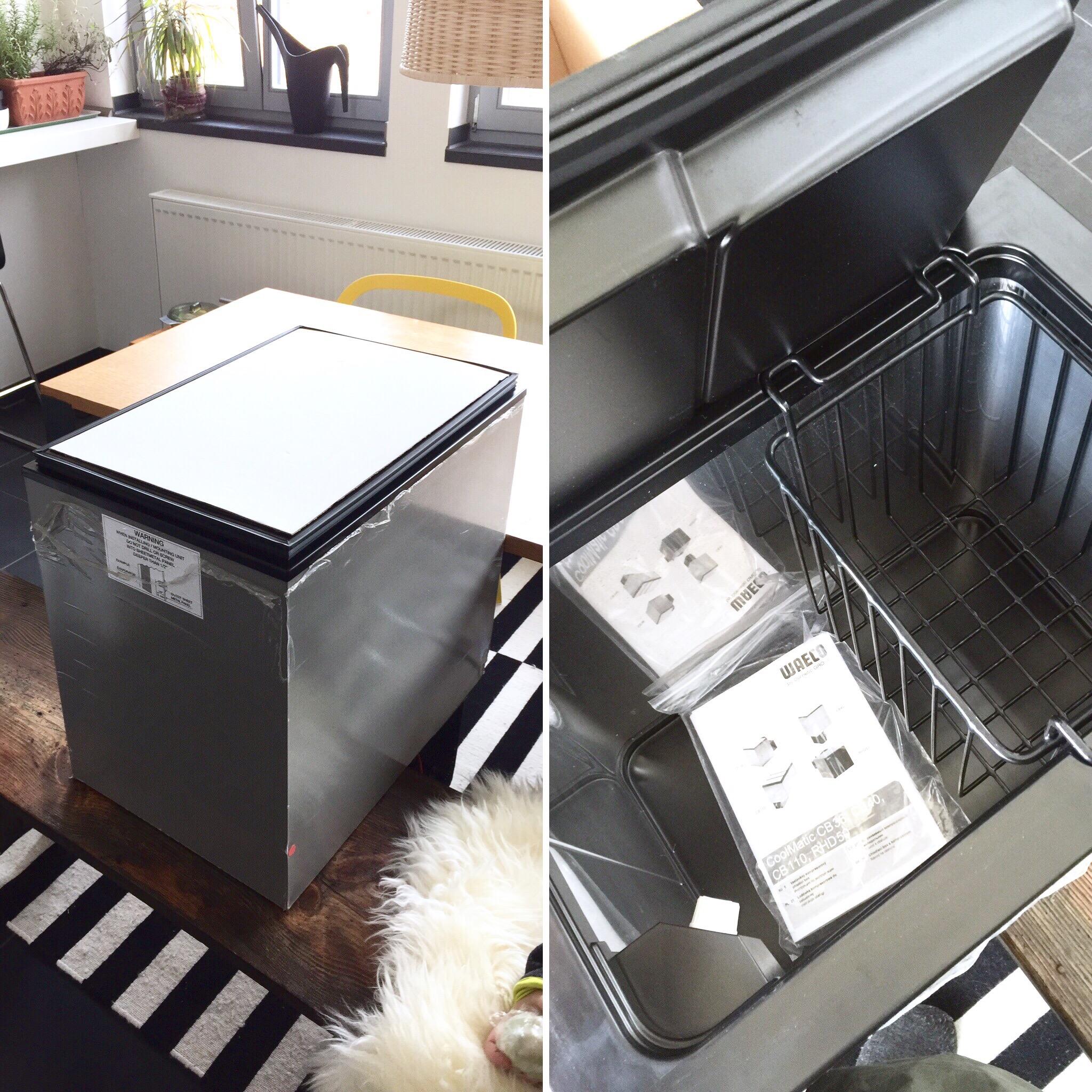Die Kühlbox, hier noch vor dem Einbau, war reduziert im Preis, aufgrund kleiner Dellen im Gehäuse, die später nicht zu sehen waren