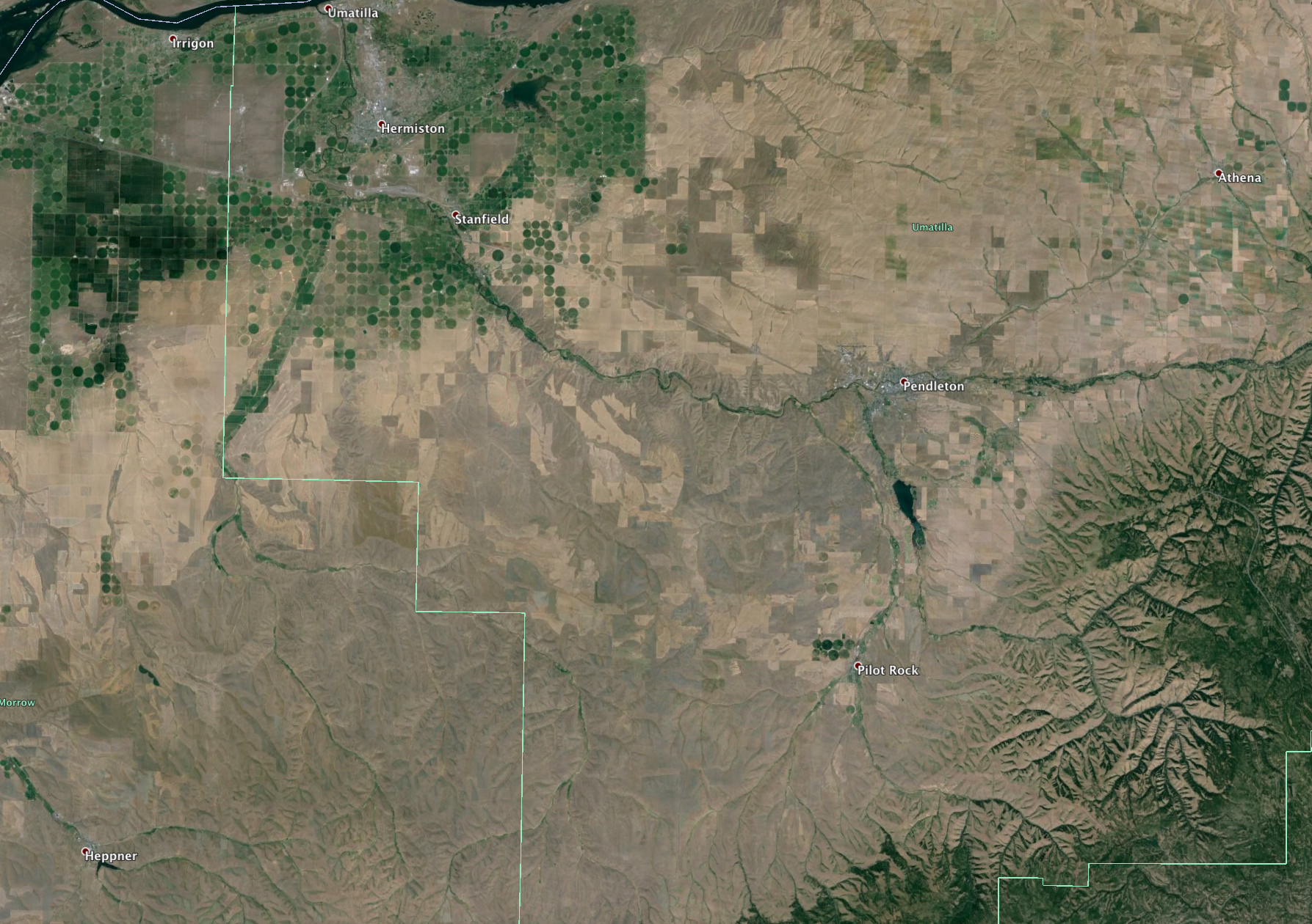 Overview of Eastern Oregon Grain growing areas.