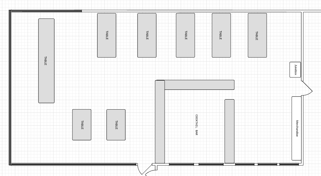 Floor plan Layout of our tasting Room Bar