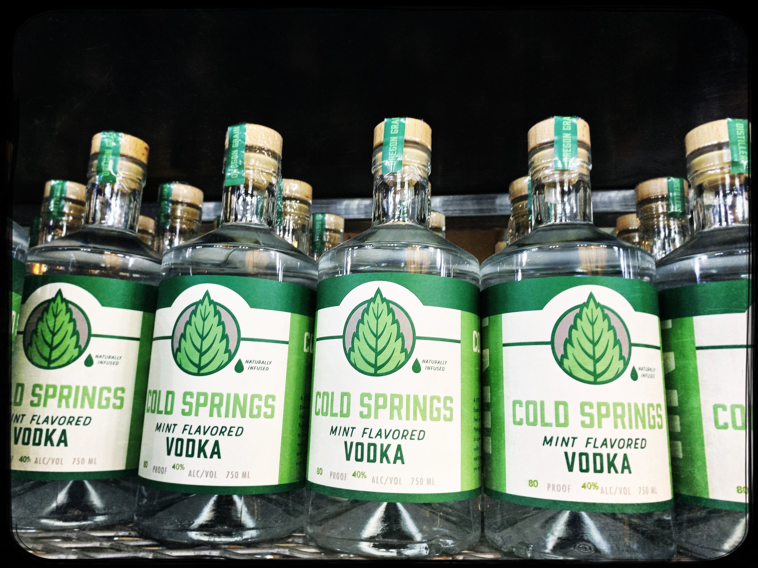 Cold Springs mint vodka made with mint from Mills mint grown near cold springs reservoir