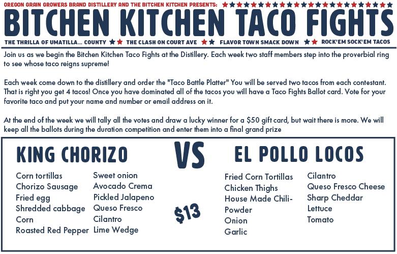 Taco Fights Round 1 Menu