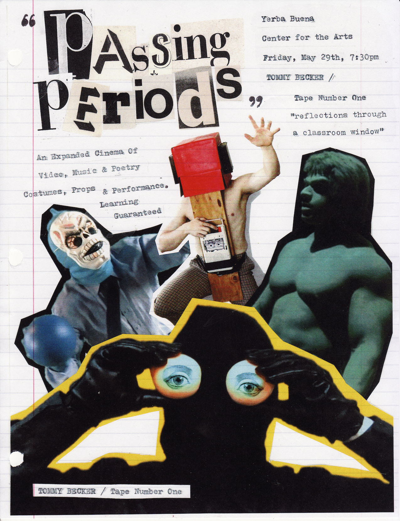 """Passing Periods"", Yerba Buena Center for the Arts, San Francisco, CA, photo collage xerox print on notebook paper, 11""x8.5"", 2015"
