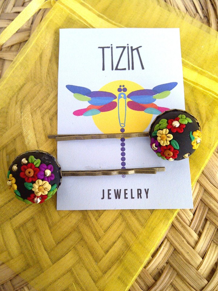 Brass Hairpins with Miniature Floral Detail