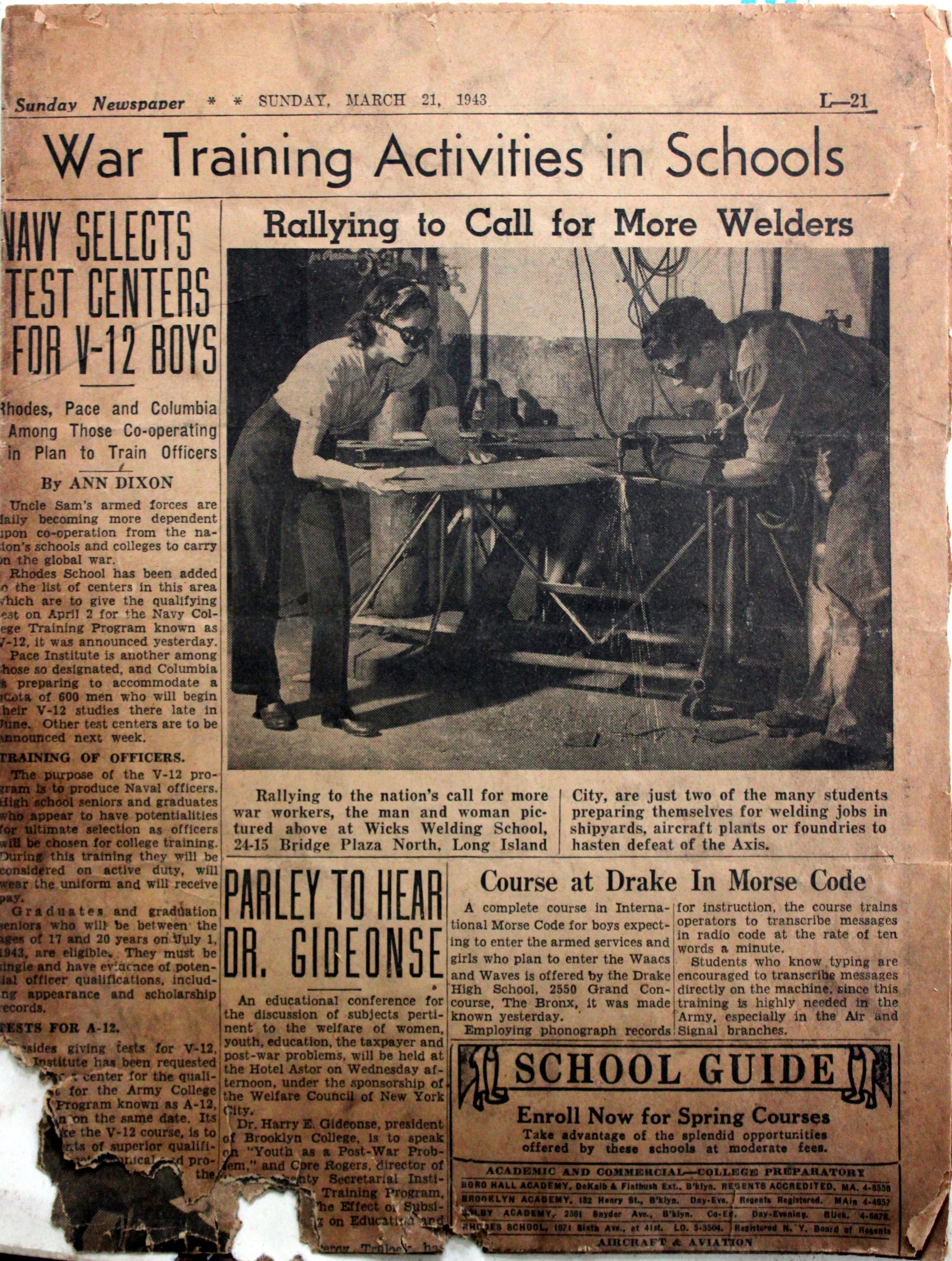 Wicks Welding advertisement from 1943.