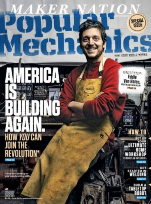 In June 2015, Popular Mechanics released a special issue dealing with the resurgence of makers in the US. Somehow, they found out about Wicks Forge and put us on the cover! You can purchase the magazine online and check out the interesting article about the American maker movement  here .