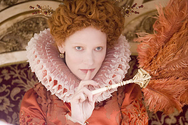 Cate Blanchett wearing one of the many fabulous costumes in  Elizabeth: The Golden Age.  This movie is full of stunningly beautiful visuals - scenery, costumes, all of it, and is inspiring to me on many levels.