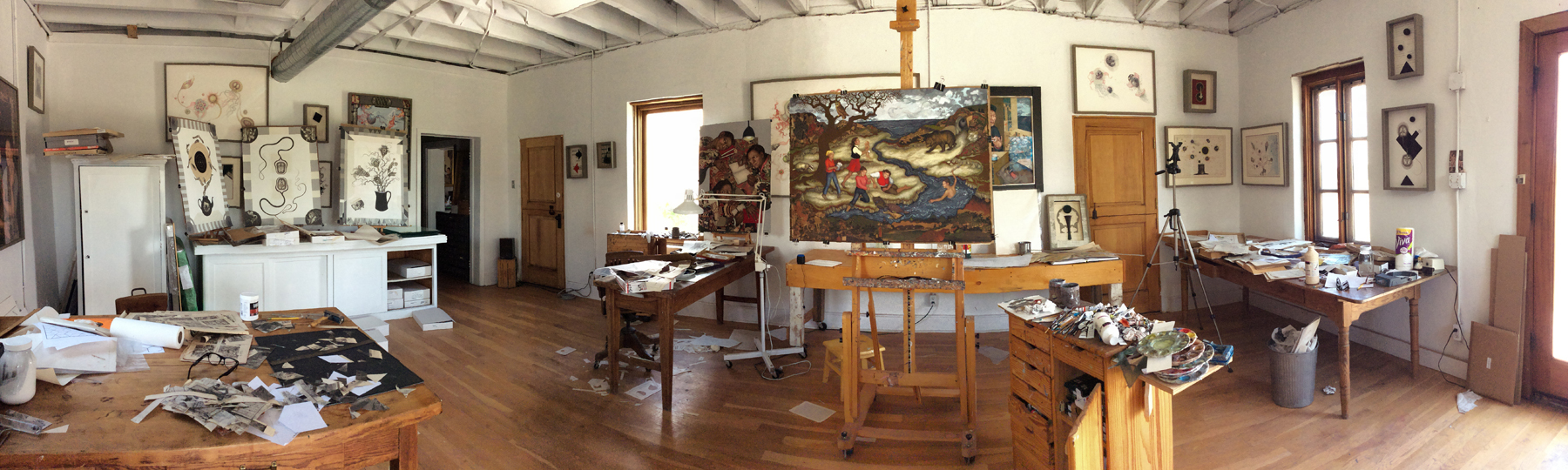 """Studio work room with """"Fishing for Bears"""" on the easel July 2018"""