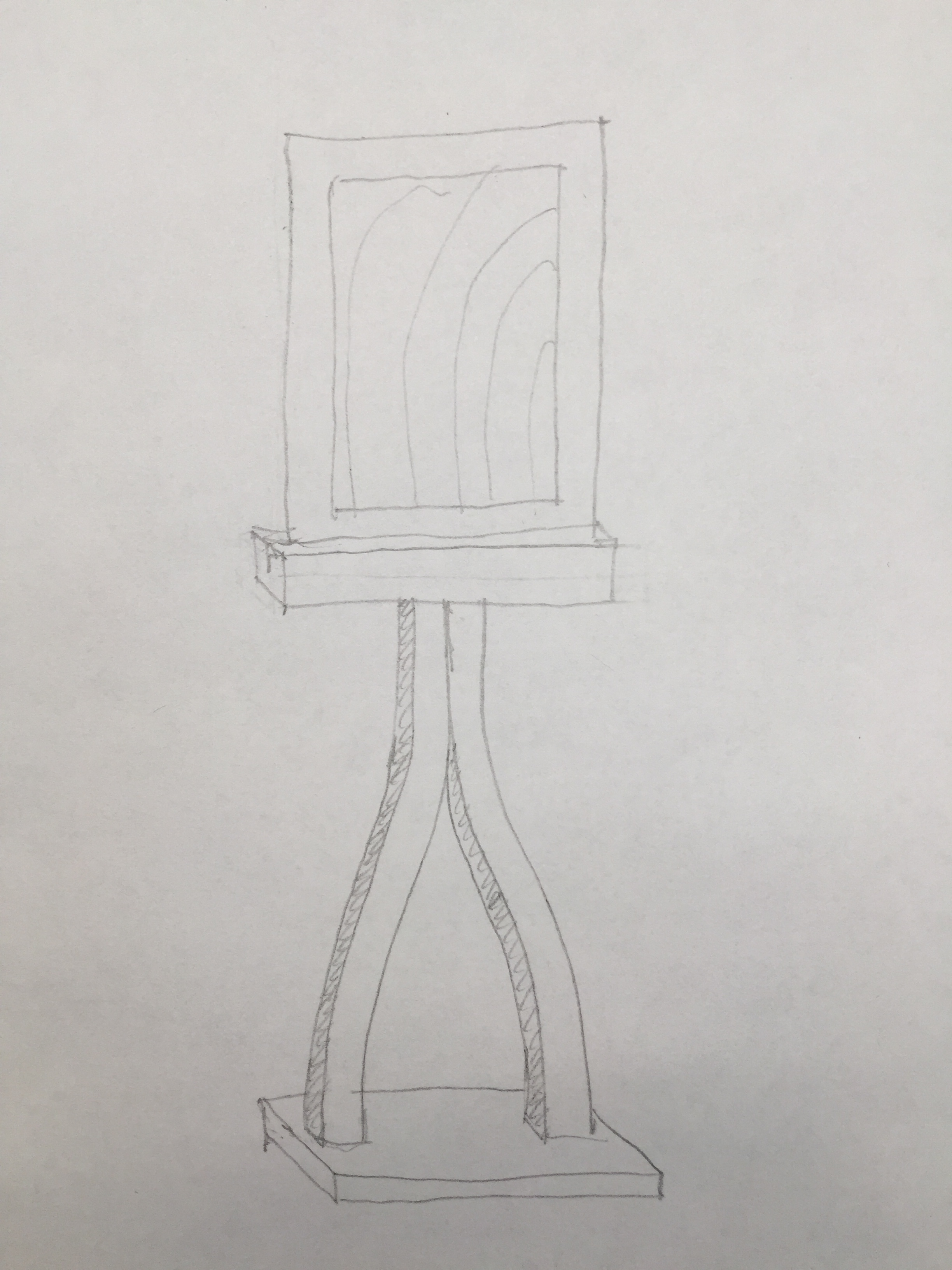 """This is a  concept for the """"music stand"""" that will contain the painting - held within plexiglass so the sun filters through the watercolor."""