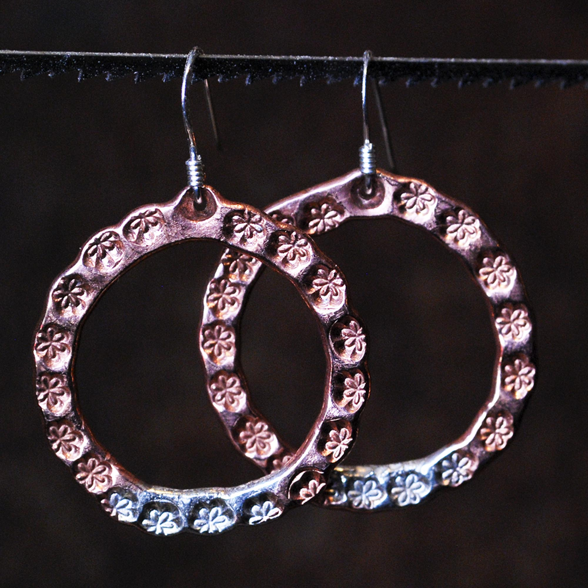 Flower hoops: copper and sterling silver