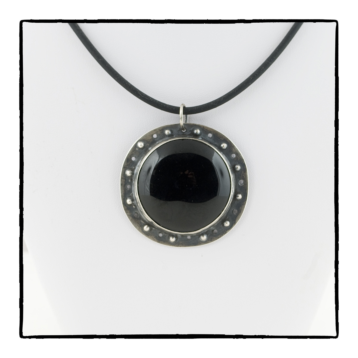 Black onyx and sterling silver signature pendant