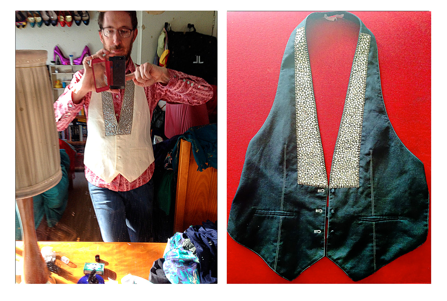 Kanen's vest. Before and after.