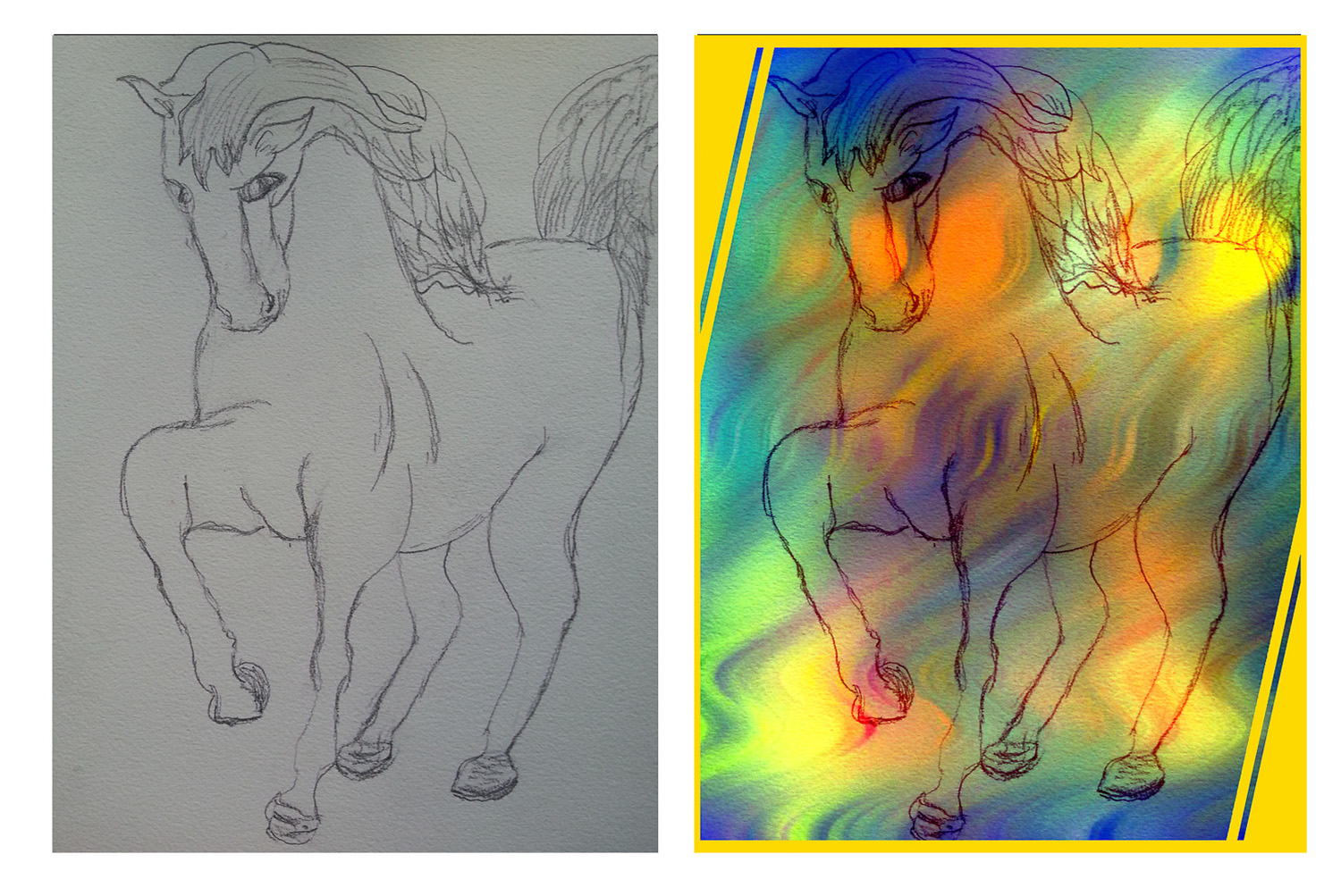 Scarlet's horse drawing. Pencil sketch and completed colour image.