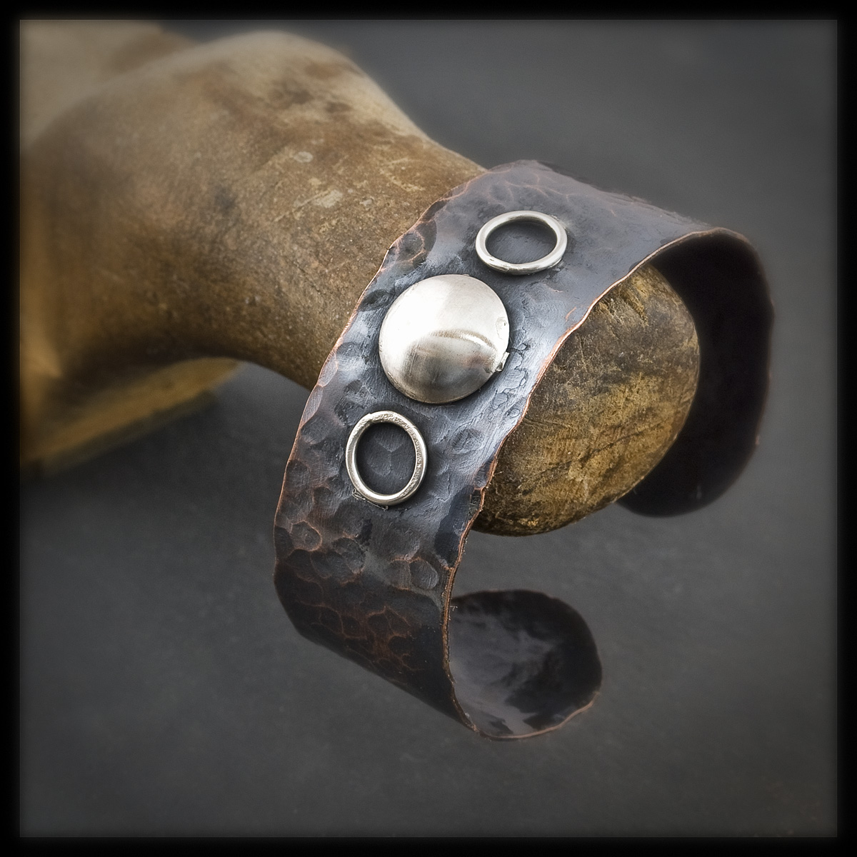Hammered copper cuff with sterling silver embellishment