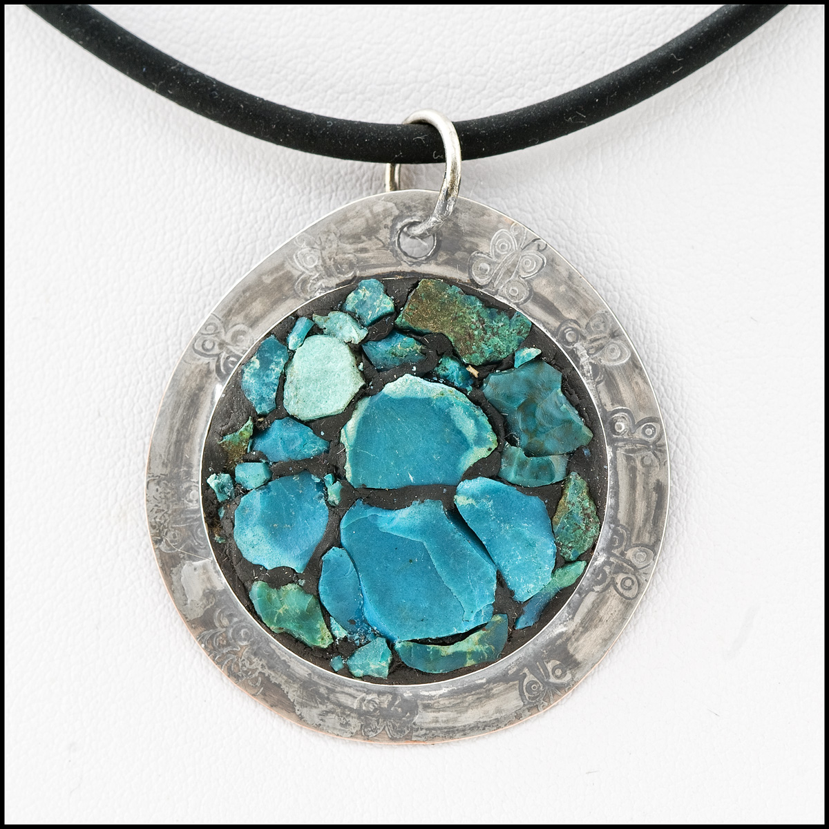 Mosaic pendant: Chrysocolla and sterling silver